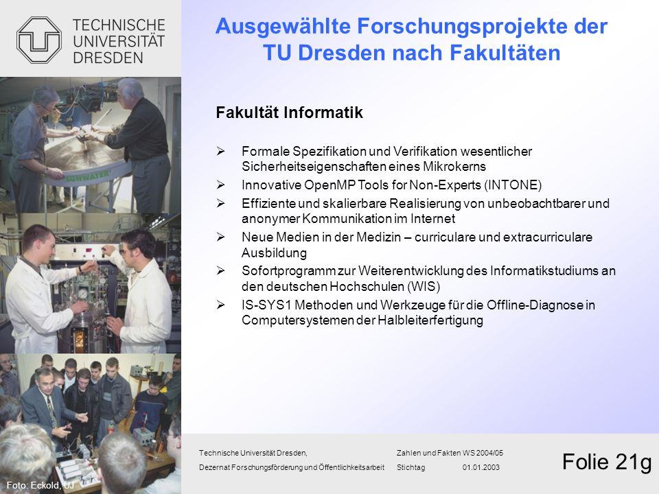 Technische Universität Dresden,Zahlen und FaktenWS 2004/05 Dezernat Forschungsförderung und Öffentlichkeitsarbeit Stichtag 01.01.2003 Folie 21g Fakult