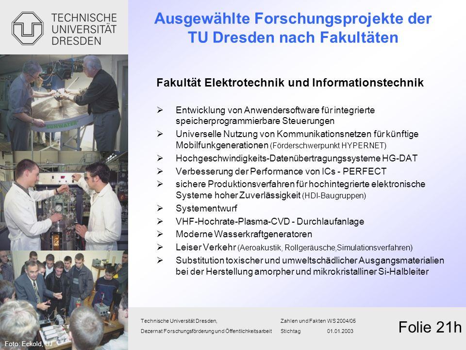 Ausgewählte Forschungsprojekte der TU Dresden nach Fakultäten Fakultät Elektrotechnik und Informationstechnik Entwicklung von Anwendersoftware für int