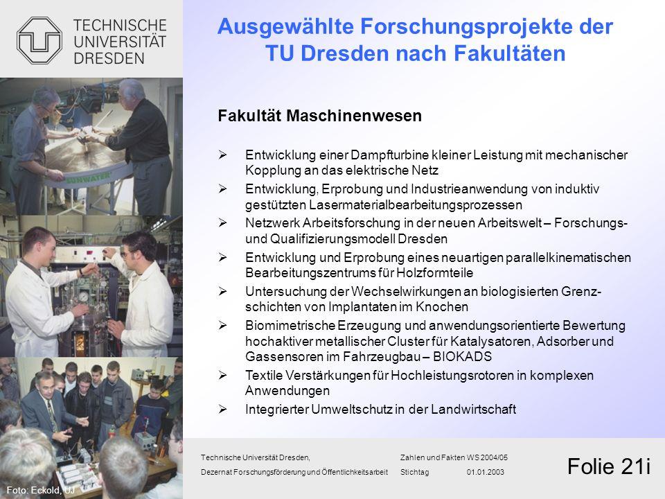 Technische Universität Dresden,Zahlen und FaktenWS 2004/05 Dezernat Forschungsförderung und Öffentlichkeitsarbeit Stichtag 01.01.2003 Folie 21i Fakult