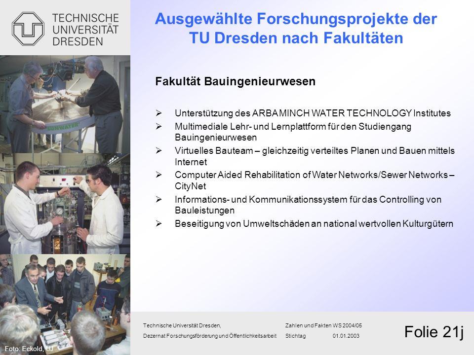 Technische Universität Dresden,Zahlen und FaktenWS 2004/05 Dezernat Forschungsförderung und Öffentlichkeitsarbeit Stichtag 01.01.2003 Folie 21j Fakult