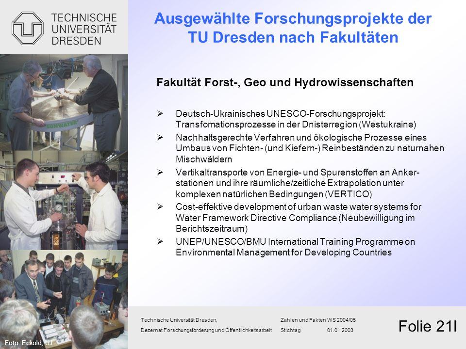 Ausgewählte Forschungsprojekte der TU Dresden nach Fakultäten Fakultät Forst-, Geo und Hydrowissenschaften Deutsch-Ukrainisches UNESCO-Forschungsproje