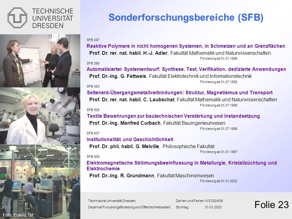 Sonderforschungsbereiche (SFB) SFB 287 Reaktive Polymere in nicht homogenen Systemen, in Schmelzen und an Grenzflächen Prof. Dr. rer. nat. habil. H.-J