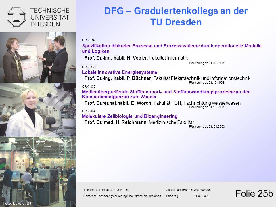 DFG – Graduiertenkollegs an der TU Dresden Technische Universität Dresden,Zahlen und FaktenWS 2004/05 Dezernat Forschungsförderung und Öffentlichkeits