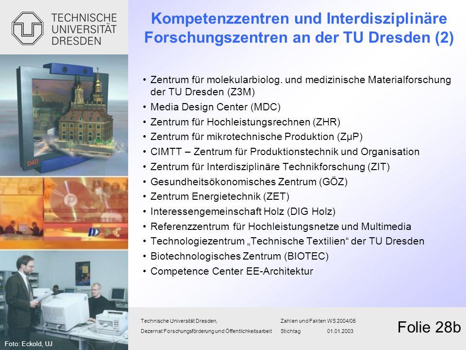 Kompetenzzentren und Interdisziplinäre Forschungszentren an der TU Dresden (2) Zentrum für molekularbiolog. und medizinische Materialforschung der TU