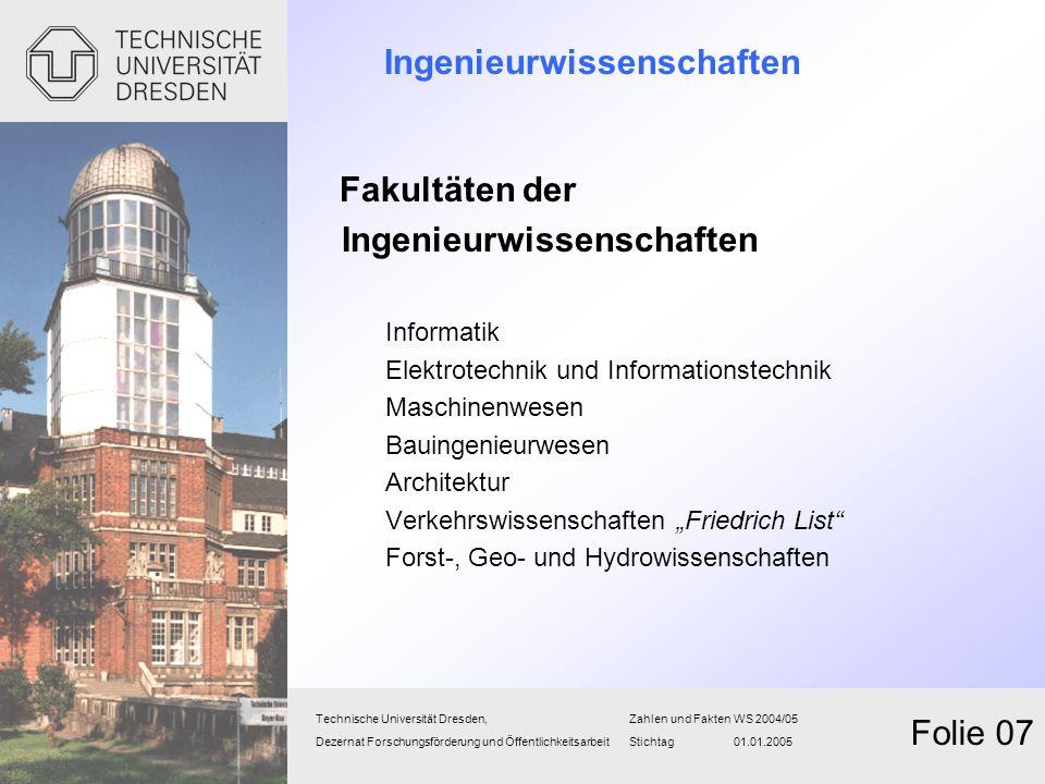 Ingenieurwissenschaften Fakultäten der Ingenieurwissenschaften Informatik Elektrotechnik und Informationstechnik Maschinenwesen Bauingenieurwesen Arch