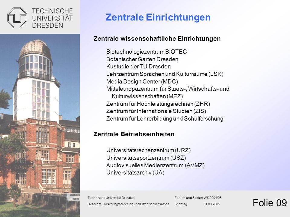 Zentrale Einrichtungen Zentrale wissenschaftliche Einrichtungen Biotechnologiezentrum BIOTEC Botanischer Garten Dresden Kustudie der TU Dresden Lehrze