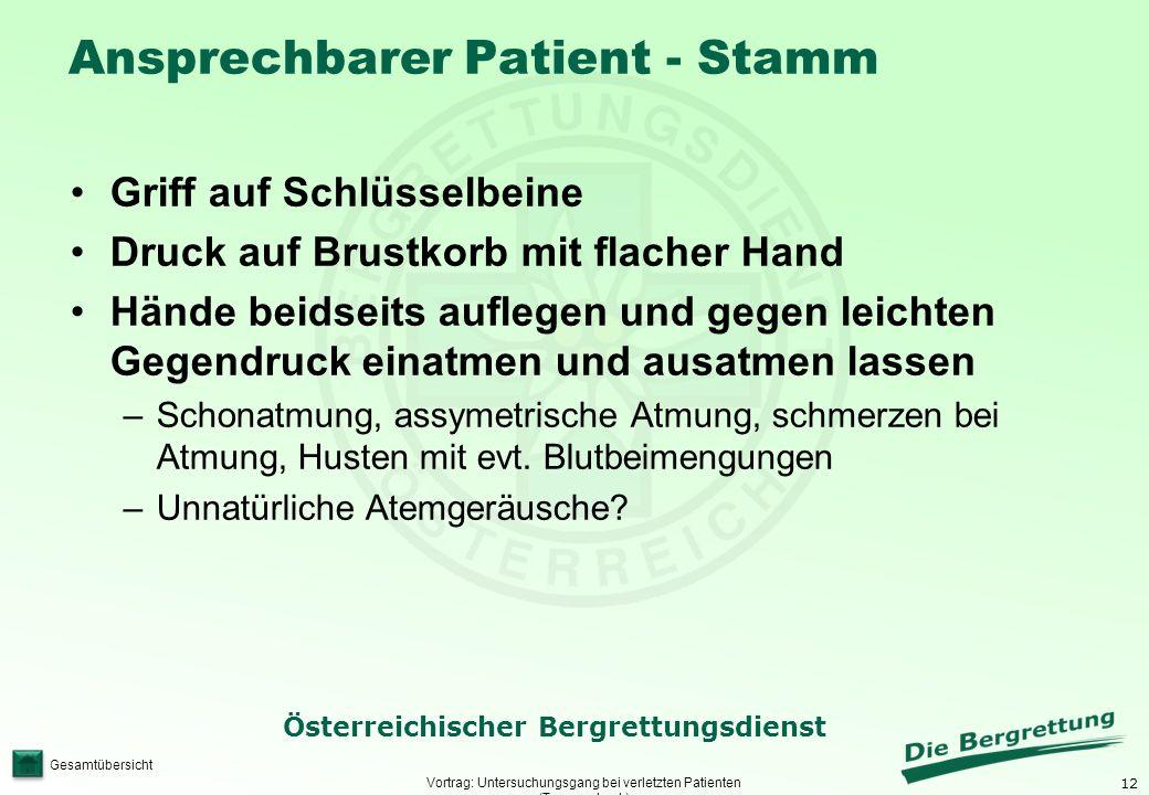 12 Österreichischer Bergrettungsdienst Gesamtübersicht Ansprechbarer Patient - Stamm Vortrag: Untersuchungsgang bei verletzten Patienten (Traumacheck)