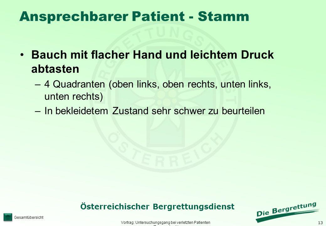 13 Österreichischer Bergrettungsdienst Gesamtübersicht Ansprechbarer Patient - Stamm Vortrag: Untersuchungsgang bei verletzten Patienten (Traumacheck)
