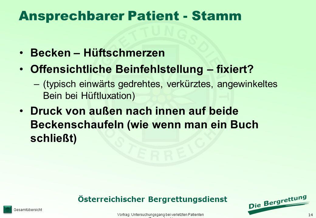 14 Österreichischer Bergrettungsdienst Gesamtübersicht Ansprechbarer Patient - Stamm Vortrag: Untersuchungsgang bei verletzten Patienten (Traumacheck)