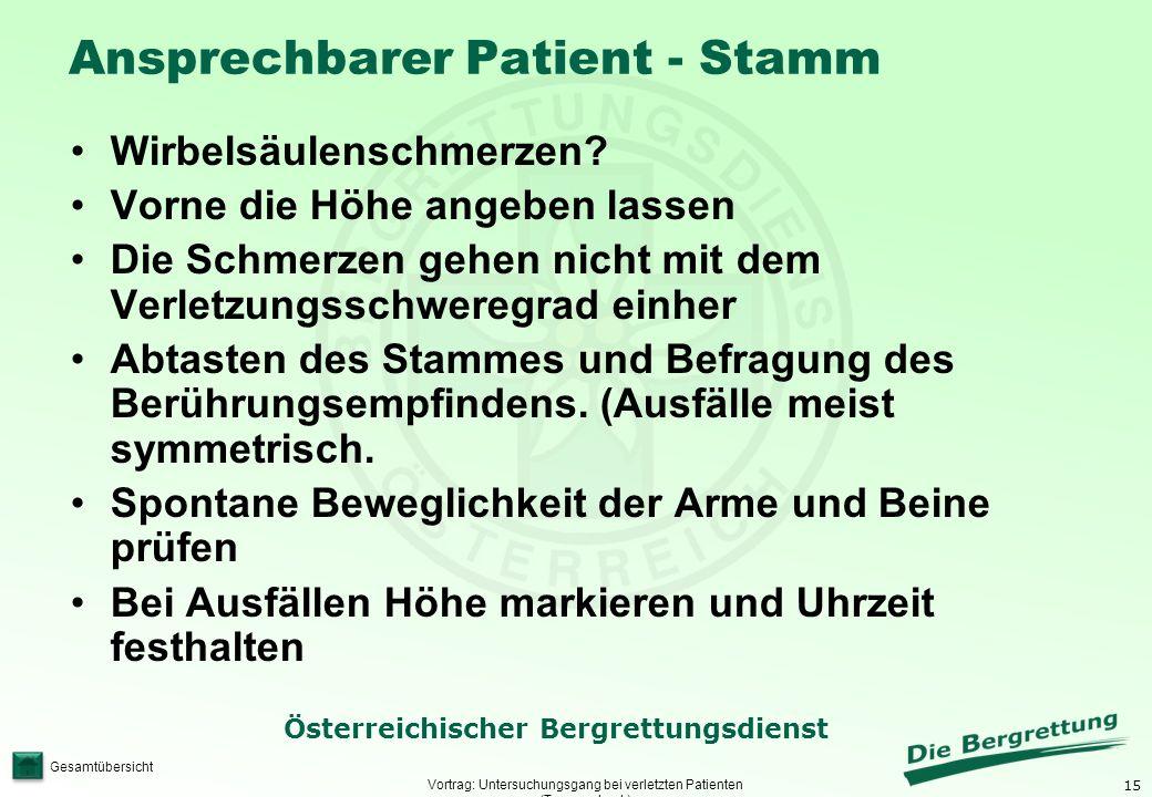 15 Österreichischer Bergrettungsdienst Gesamtübersicht Ansprechbarer Patient - Stamm Vortrag: Untersuchungsgang bei verletzten Patienten (Traumacheck)