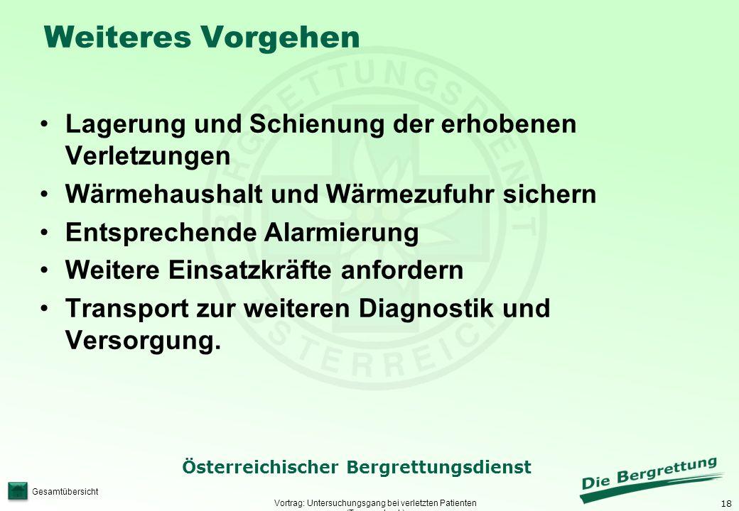 18 Österreichischer Bergrettungsdienst Gesamtübersicht Weiteres Vorgehen Vortrag: Untersuchungsgang bei verletzten Patienten (Traumacheck) Lagerung un