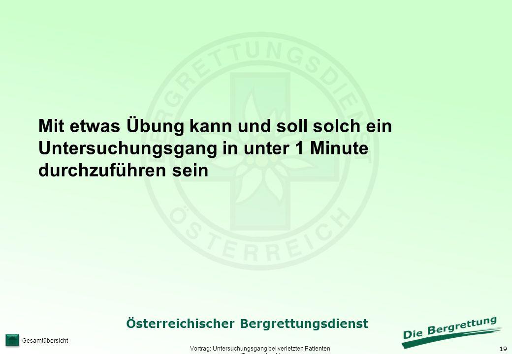 19 Österreichischer Bergrettungsdienst Gesamtübersicht Vortrag: Untersuchungsgang bei verletzten Patienten (Traumacheck) Mit etwas Übung kann und soll