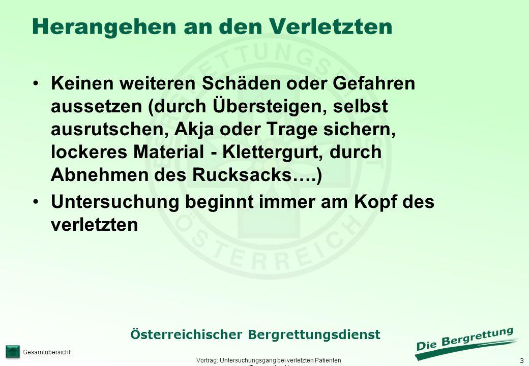 3 Österreichischer Bergrettungsdienst Gesamtübersicht Herangehen an den Verletzten Vortrag: Untersuchungsgang bei verletzten Patienten (Traumacheck) K
