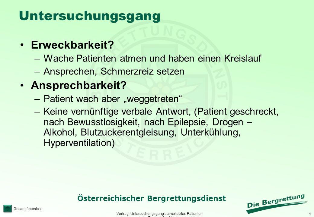5 Österreichischer Bergrettungsdienst Gesamtübersicht Bewusstloser Patient ohne Atmung Vortrag: Untersuchungsgang bei verletzten Patienten (Traumacheck) Reanimationsbeginn