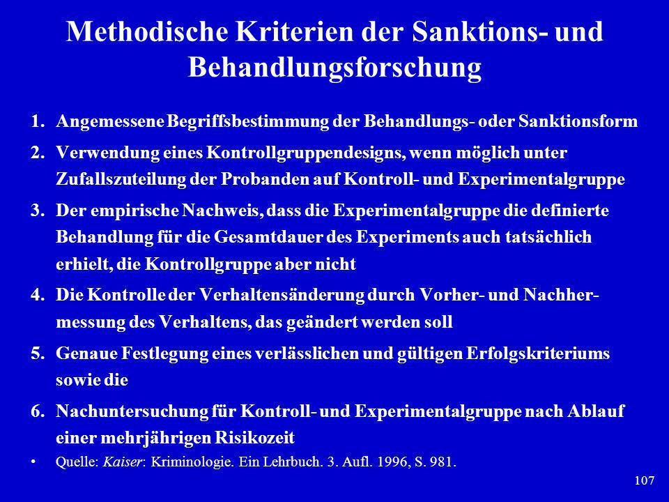 107 Methodische Kriterien der Sanktions- und Behandlungsforschung 1.Angemessene Begriffsbestimmung der Behandlungs- oder Sanktionsform 2.Verwendung ei