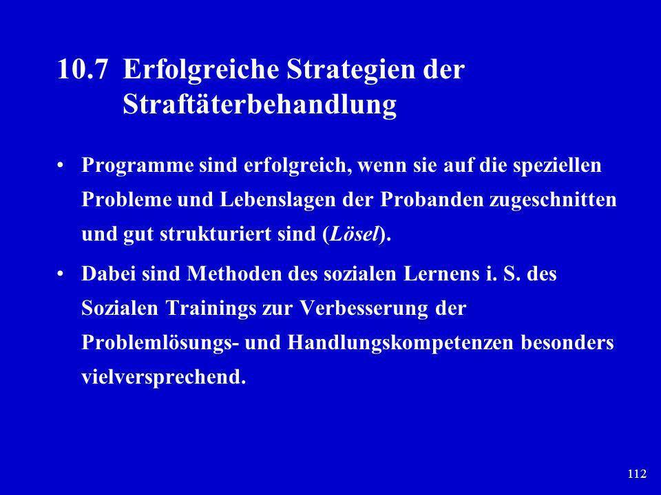 112 10.7Erfolgreiche Strategien der Straftäterbehandlung Programme sind erfolgreich, wenn sie auf die speziellen Probleme und Lebenslagen der Probande