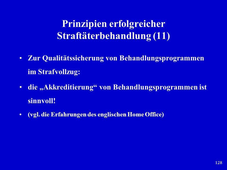 128 Prinzipien erfolgreicher Straftäterbehandlung (11) Zur Qualitätssicherung von Behandlungsprogrammen im Strafvollzug: die Akkreditierung von Behand