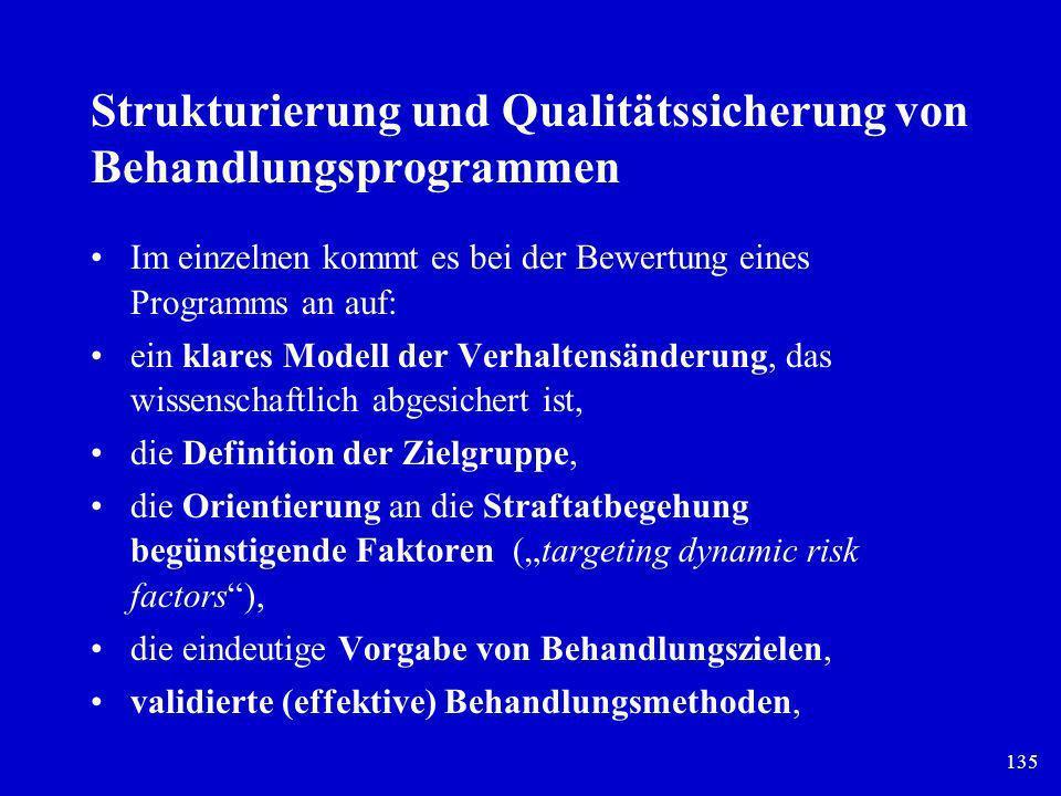 135 Strukturierung und Qualitätssicherung von Behandlungsprogrammen Im einzelnen kommt es bei der Bewertung eines Programms an auf: ein klares Modell