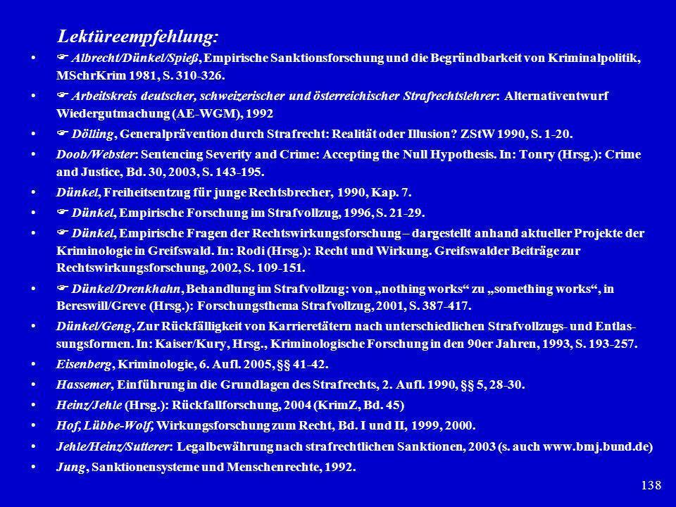 138 Lektüreempfehlung: Albrecht/Dünkel/Spieß, Empirische Sanktionsforschung und die Begründbarkeit von Kriminalpolitik, MSchrKrim 1981, S. 310-326. Ar