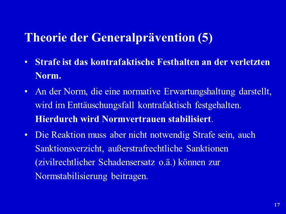 17 Theorie der Generalprävention (5) Strafe ist das kontrafaktische Festhalten an der verletzten Norm. An der Norm, die eine normative Erwartungshaltu