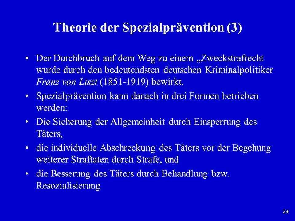 24 Theorie der Spezialprävention (3) Der Durchbruch auf dem Weg zu einem Zweckstrafrecht wurde durch den bedeutendsten deutschen Kriminalpolitiker Fra