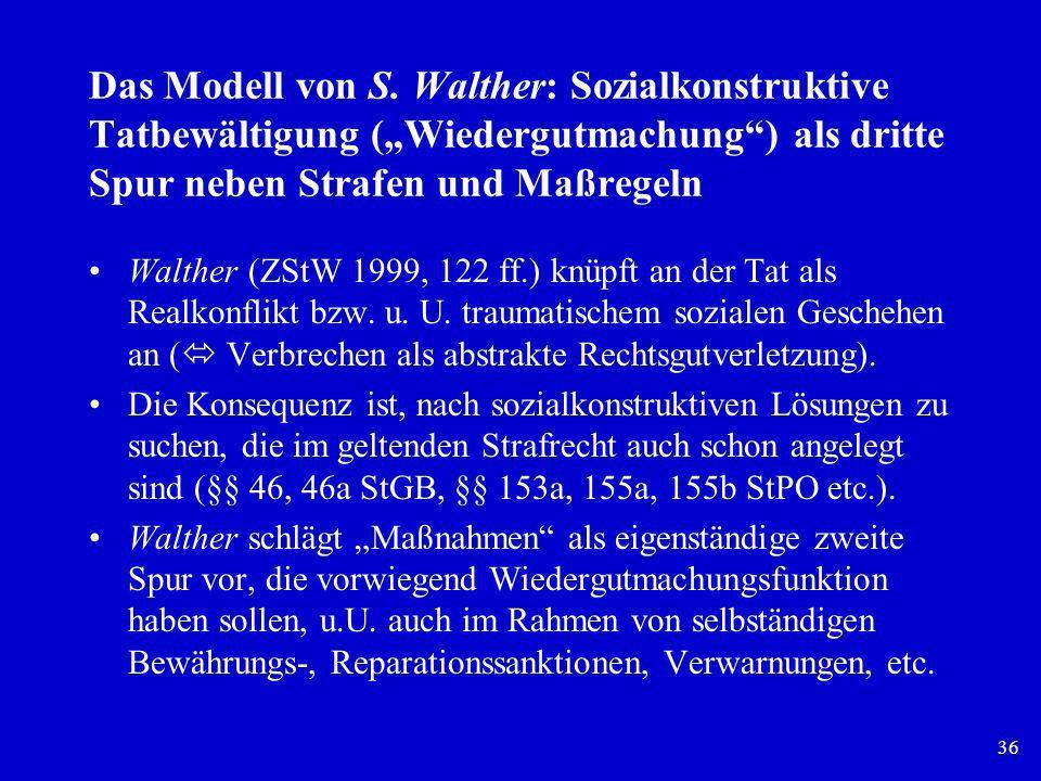 36 Das Modell von S. Walther: Sozialkonstruktive Tatbewältigung (Wiedergutmachung) als dritte Spur neben Strafen und Maßregeln Walther (ZStW 1999, 122
