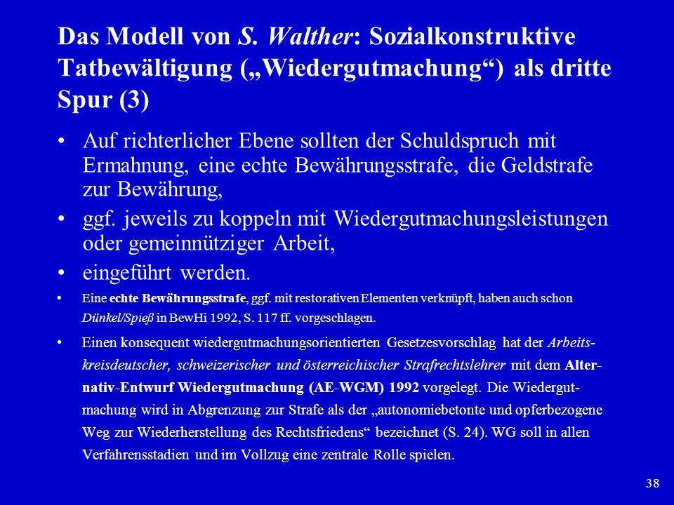 38 Das Modell von S. Walther: Sozialkonstruktive Tatbewältigung (Wiedergutmachung) als dritte Spur (3) Auf richterlicher Ebene sollten der Schuldspruc