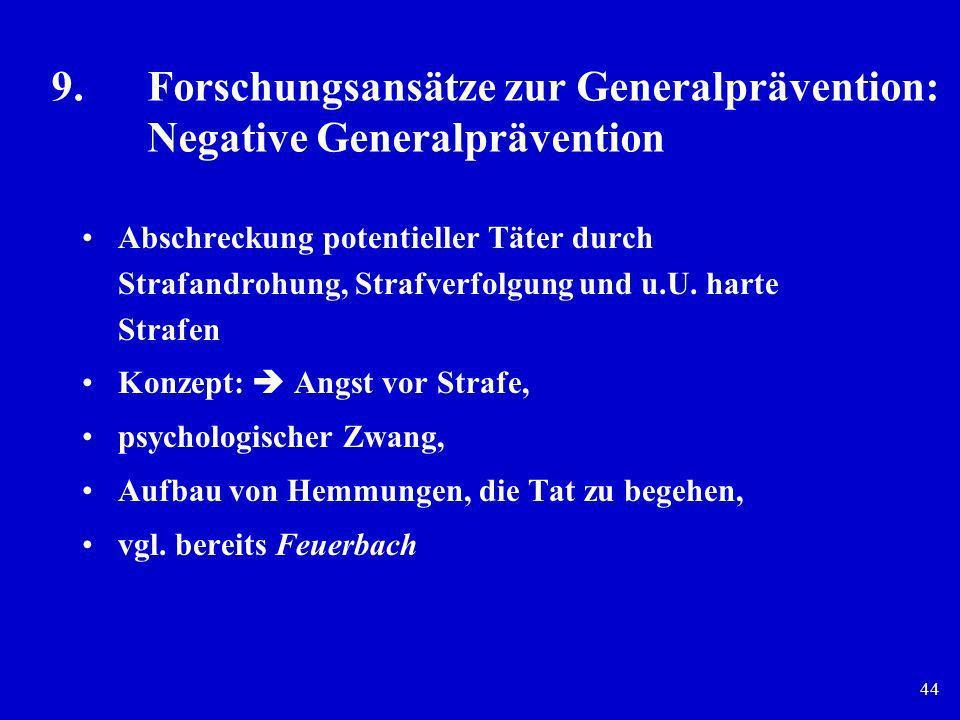44 9.Forschungsansätze zur Generalprävention: Negative Generalprävention Abschreckung potentieller Täter durch Strafandrohung, Strafverfolgung und u.U