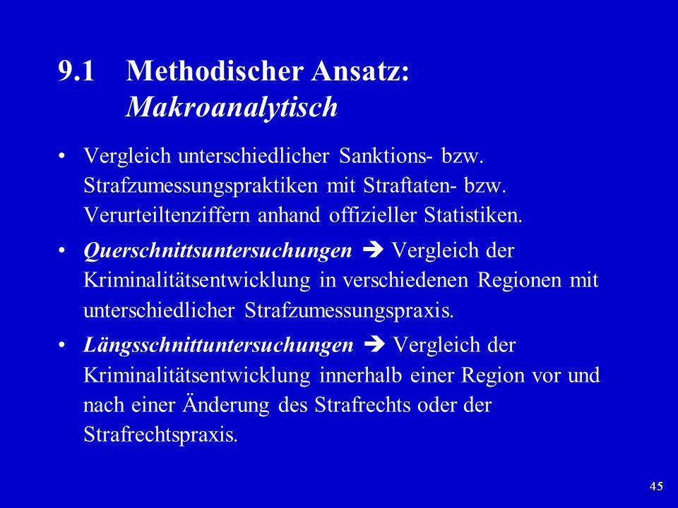 45 9.1Methodischer Ansatz: Makroanalytisch Vergleich unterschiedlicher Sanktions- bzw. Strafzumessungspraktiken mit Straftaten- bzw. Verurteiltenziffe