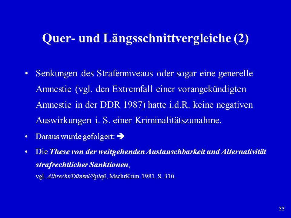 53 Quer- und Längsschnittvergleiche (2) Senkungen des Strafenniveaus oder sogar eine generelle Amnestie (vgl. den Extremfall einer vorangekündigten Am
