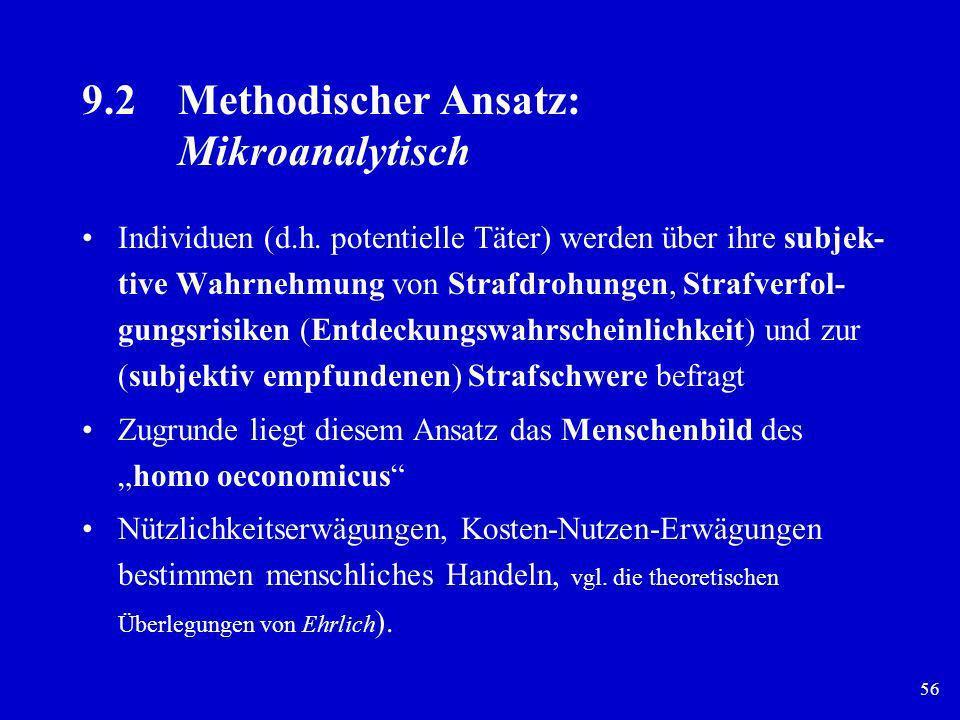 56 9.2Methodischer Ansatz: Mikroanalytisch Individuen (d.h. potentielle Täter) werden über ihre subjek- tive Wahrnehmung von Strafdrohungen, Strafverf