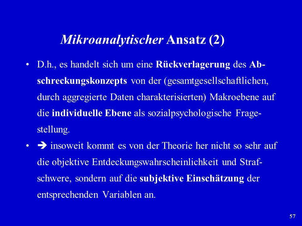 57 Mikroanalytischer Ansatz (2) D.h., es handelt sich um eine Rückverlagerung des Ab- schreckungskonzepts von der (gesamtgesellschaftlichen, durch agg