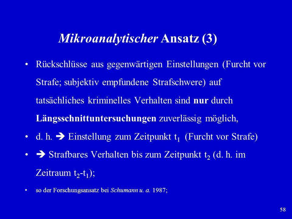 58 Mikroanalytischer Ansatz (3) Rückschlüsse aus gegenwärtigen Einstellungen (Furcht vor Strafe; subjektiv empfundene Strafschwere) auf tatsächliches