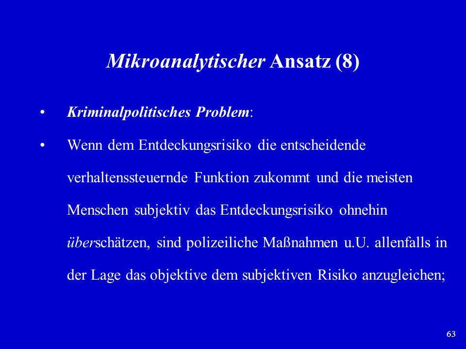 63 Mikroanalytischer Ansatz (8) Kriminalpolitisches Problem: Wenn dem Entdeckungsrisiko die entscheidende verhaltenssteuernde Funktion zukommt und die