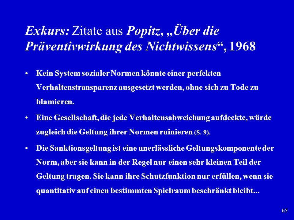65 Exkurs: Zitate aus Popitz, Über die Präventivwirkung des Nichtwissens, 1968 Kein System sozialer Normen könnte einer perfekten Verhaltenstransparen