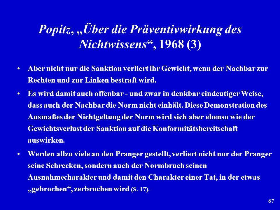 67 Popitz, Über die Präventivwirkung des Nichtwissens, 1968 (3) Aber nicht nur die Sanktion verliert ihr Gewicht, wenn der Nachbar zur Rechten und zur
