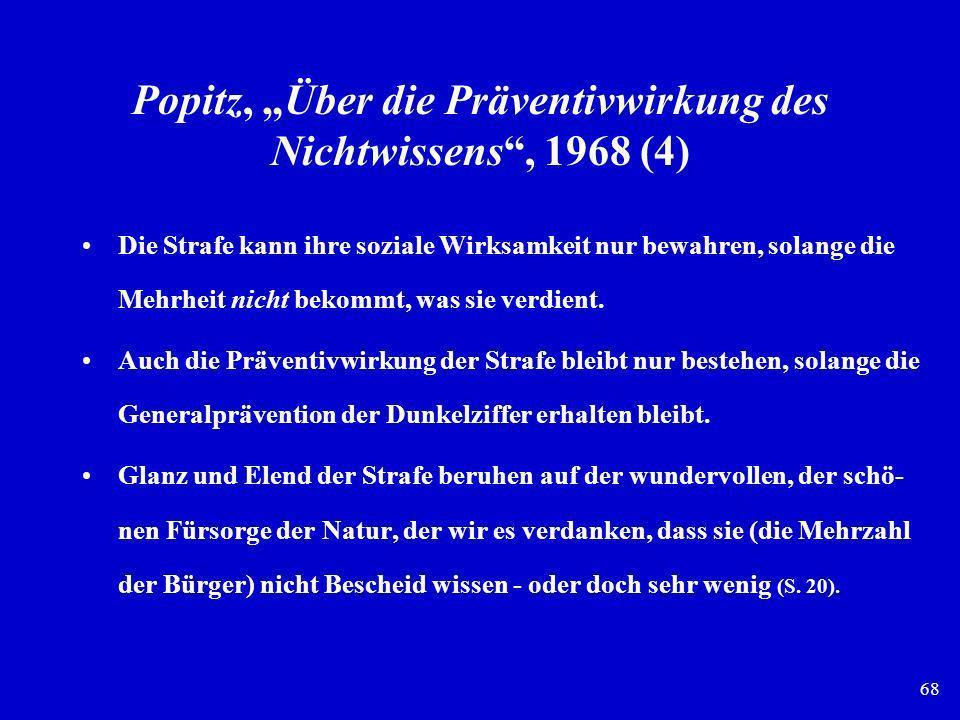 68 Popitz, Über die Präventivwirkung des Nichtwissens, 1968 (4) Die Strafe kann ihre soziale Wirksamkeit nur bewahren, solange die Mehrheit nicht beko