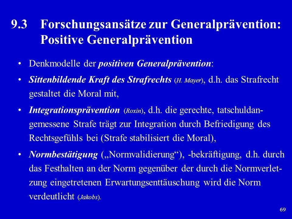69 9.3Forschungsansätze zur Generalprävention: Positive Generalprävention Denkmodelle der positiven Generalprävention: Sittenbildende Kraft des Strafr