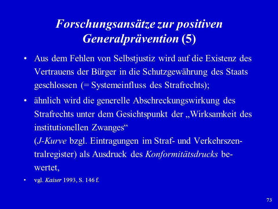 73 Forschungsansätze zur positiven Generalprävention (5) Aus dem Fehlen von Selbstjustiz wird auf die Existenz des Vertrauens der Bürger in die Schutz