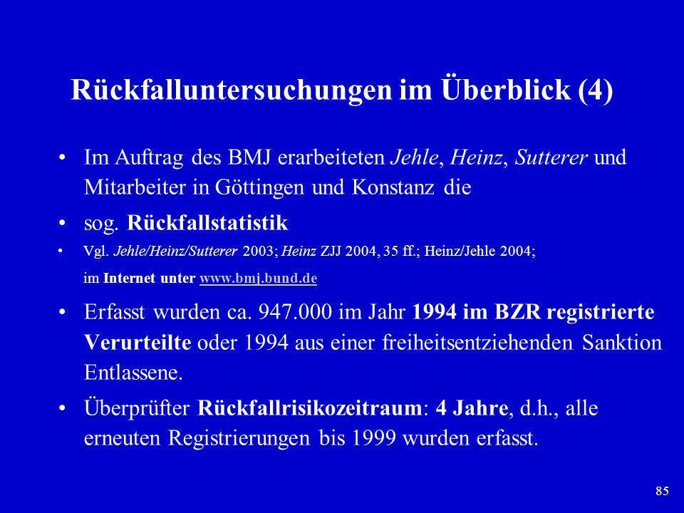 85 Rückfalluntersuchungen im Überblick (4) Im Auftrag des BMJ erarbeiteten Jehle, Heinz, Sutterer und Mitarbeiter in Göttingen und Konstanz die sog. R