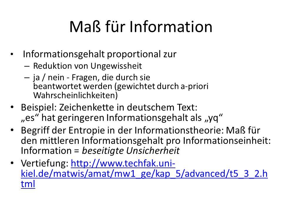 Maß für Information Informationsgehalt proportional zur – Reduktion von Ungewissheit – ja / nein - Fragen, die durch sie beantwortet werden (gewichtet