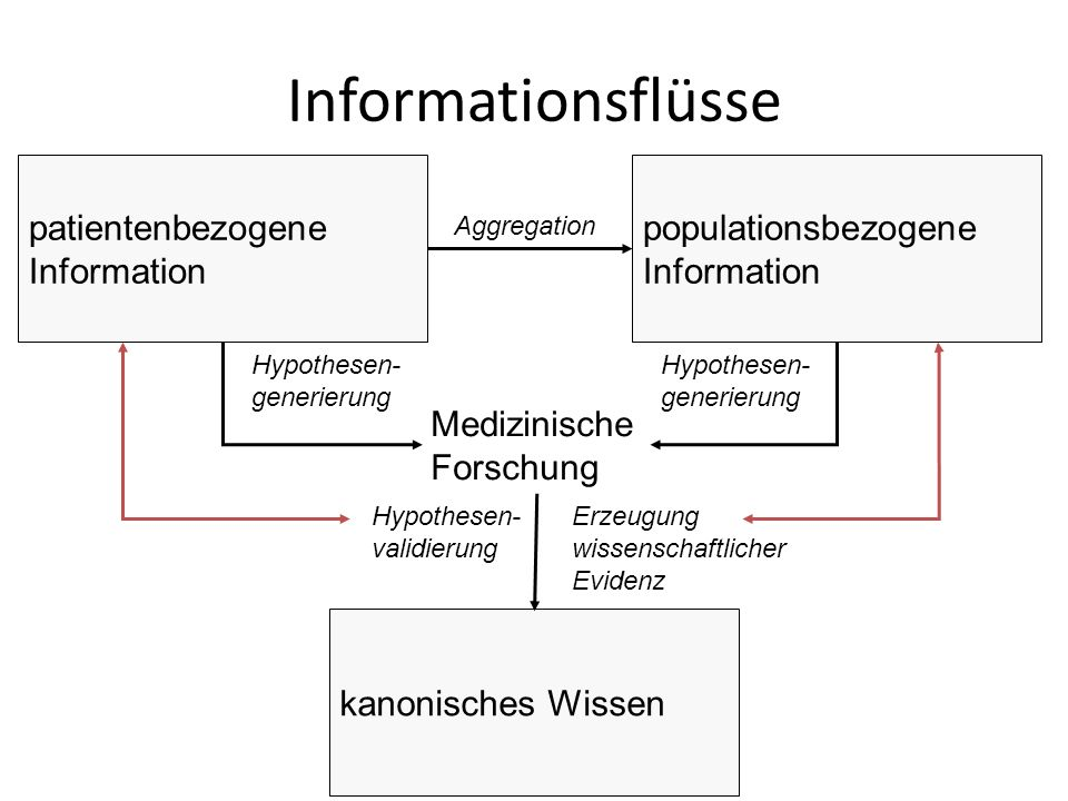 kanonisches Wissen Aggregation Medizinische Forschung Hypothesen- generierung Hypothesen- validierung Erzeugung wissenschaftlicher Evidenz Informationsflüsse patientenbezogene Information populationsbezogene Information