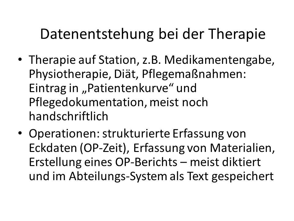 Datenentstehung bei der Therapie Therapie auf Station, z.B.