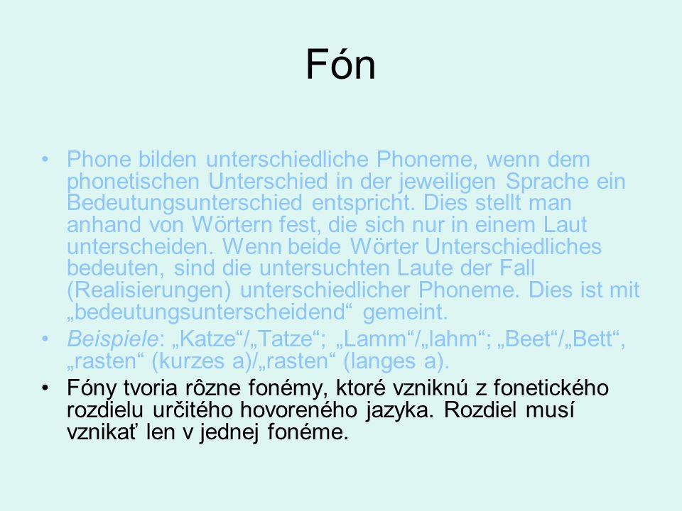 Fón Phone bilden unterschiedliche Phoneme, wenn dem phonetischen Unterschied in der jeweiligen Sprache ein Bedeutungsunterschied entspricht. Dies stel