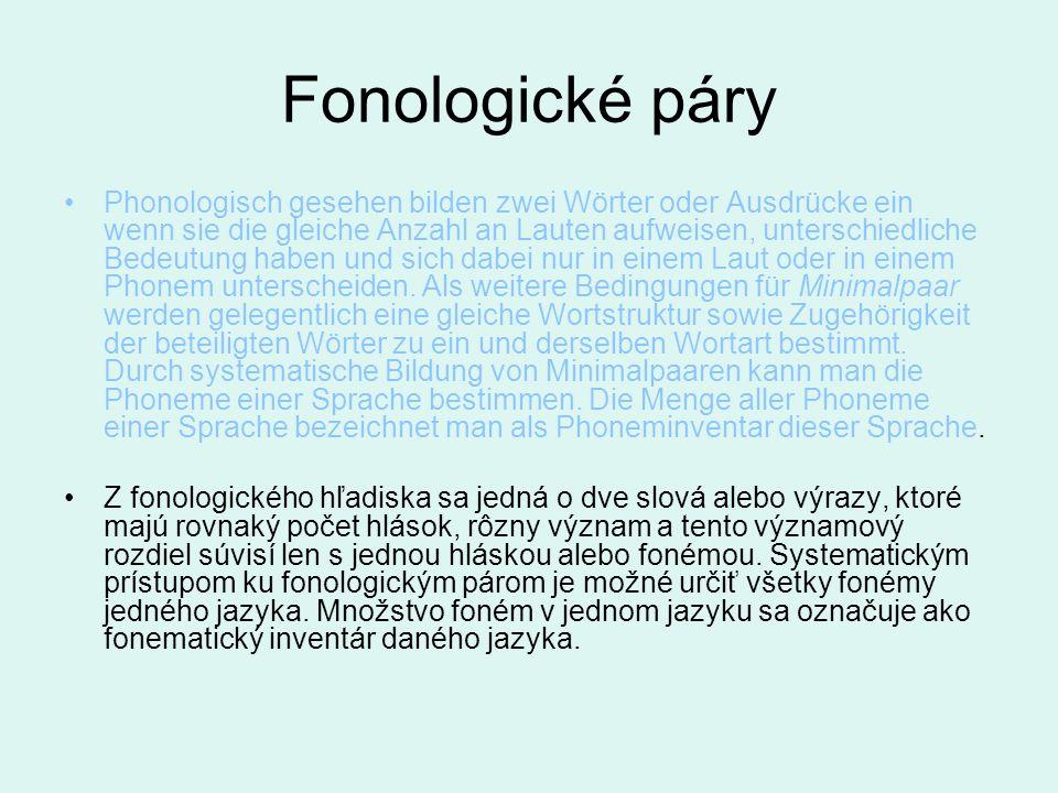 Fonologické páry Phonologisch gesehen bilden zwei Wörter oder Ausdrücke ein wenn sie die gleiche Anzahl an Lauten aufweisen, unterschiedliche Bedeutun