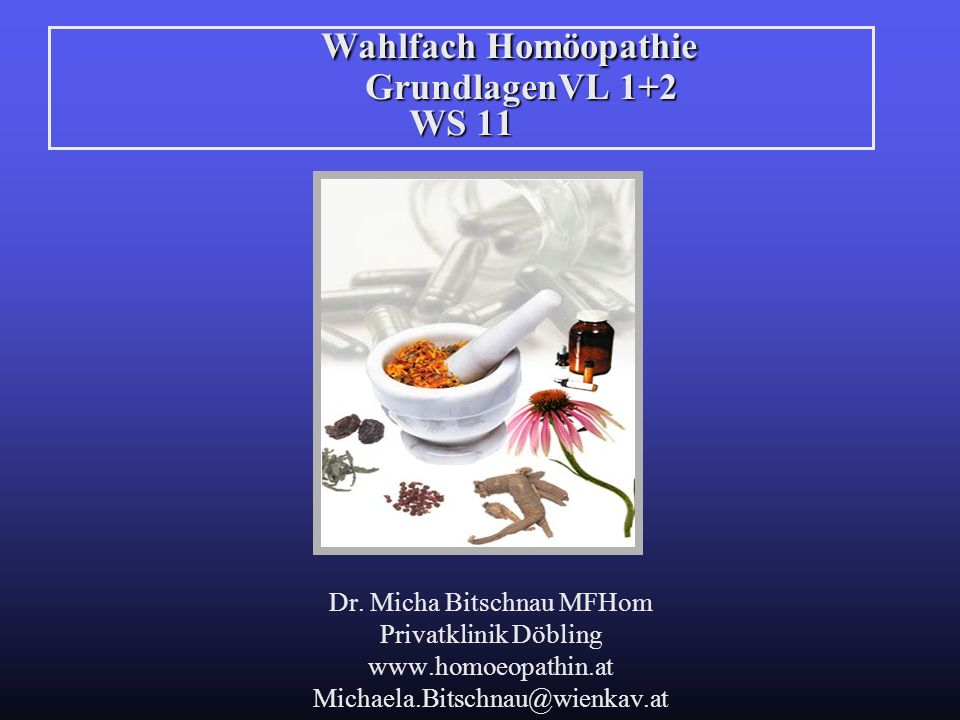 Wahlfach Homöopathie GrundlagenVL 1+2 WS 11 Dr. Micha Bitschnau MFHom Privatklinik Döbling www.homoeopathin.at Michaela.Bitschnau@wienkav.at