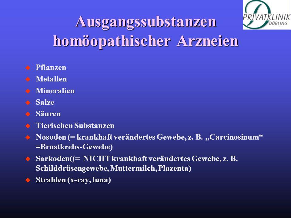 Ausgangssubstanzen homöopathischer Arzneien u Pflanzen u Metallen u Mineralien u Salze u Säuren u Tierischen Substanzen u Nosoden (= krankhaft verände