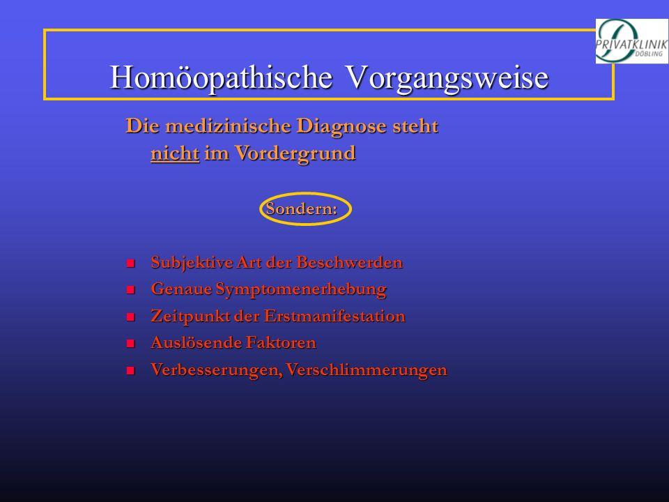 Homöopathische Vorgangsweise Die medizinische Diagnose steht nicht im Vordergrund Sondern: Subjektive Art der Beschwerden Subjektive Art der Beschwerd