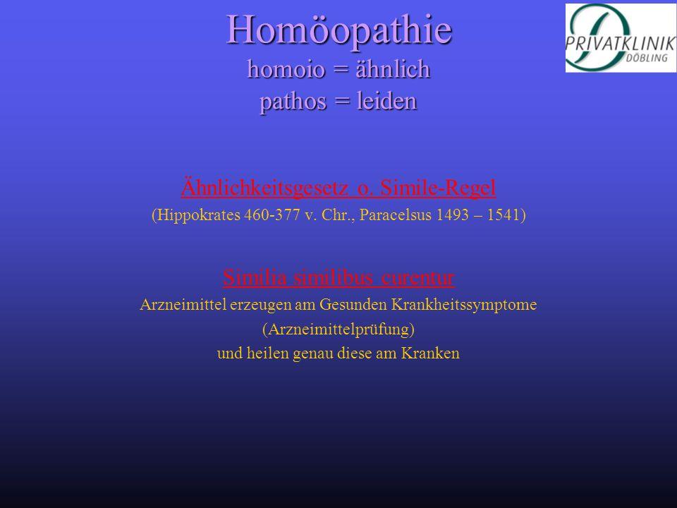 Homöopathie homoio = ähnlich pathos = leiden Ähnlichkeitsgesetz o. Simile-Regel (Hippokrates 460-377 v. Chr., Paracelsus 1493 – 1541) Similia similibu