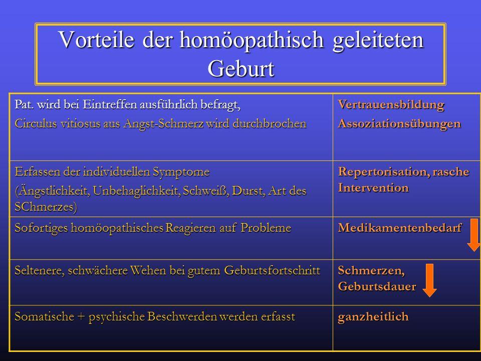 Vorteile der homöopathisch geleiteten Geburt Pat. wird bei Eintreffen ausführlich befragt, Circulus vitiosus aus Angst-Schmerz wird durchbrochen Vertr